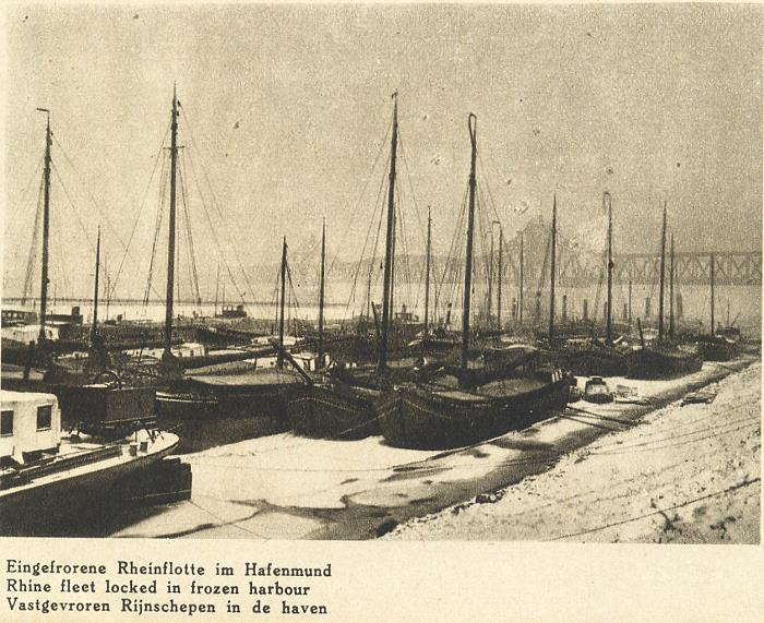 eingefrorene Rheinflotte