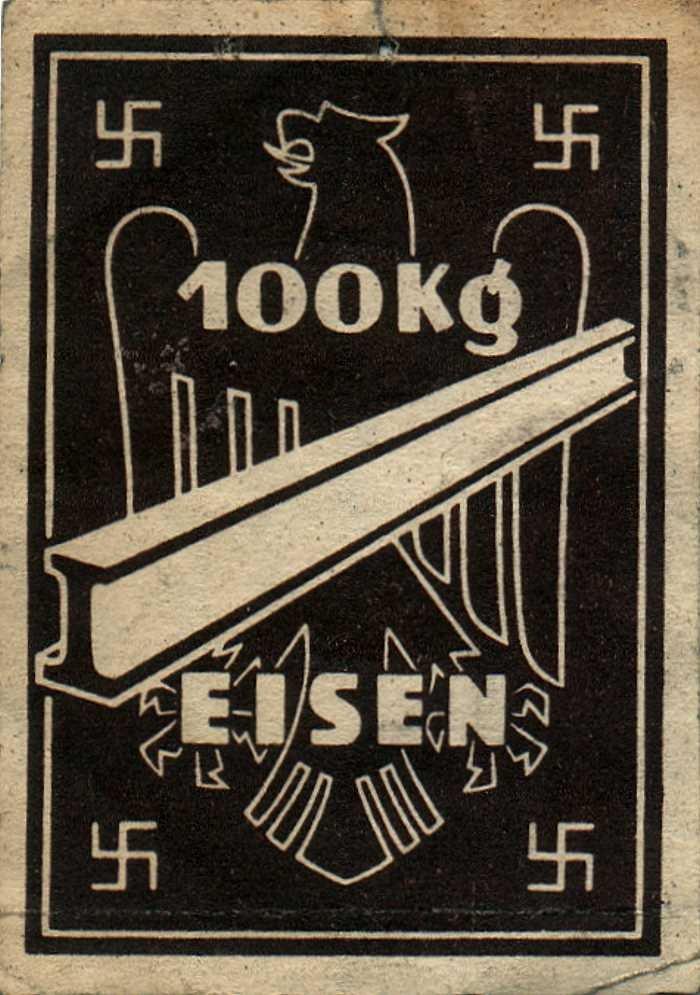 normal Bezugsmarke 100 kg Eisen 1941-42
